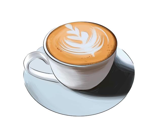 Latte bianco del cappuccino di vista superiore e laterale della tazza di caffè dal disegno colorato delle pitture multicolori