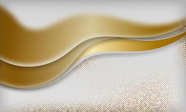 Sfondo di lusso curva bianca con linee dorate e scintillii di luce concetto elegante e premium