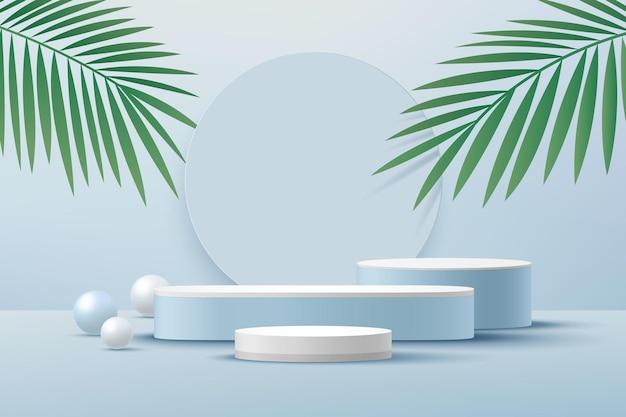 Podio con piedistallo cilindrico bianco stanza vuota azzurra con foglia di palma verde sfera blu e bianca che rende la forma 3d
