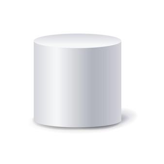 Cilindro bianco sfondo bianco