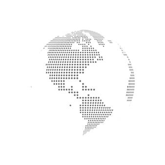 Illustrazione trasparente di vetro del globo punteggiato bianco
