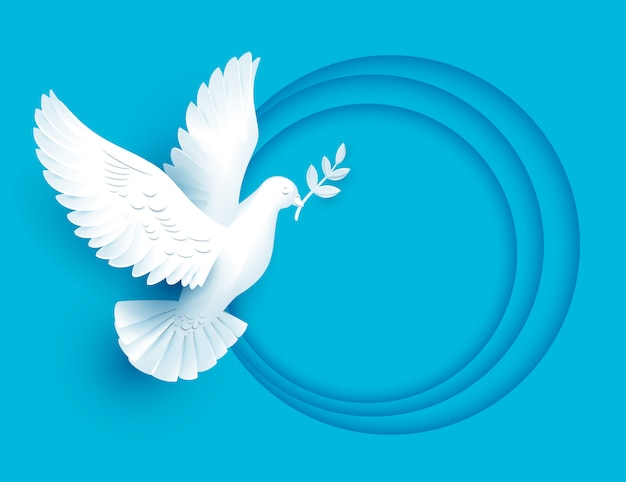 La colomba bianca detiene il ramoscello simbolo di pace