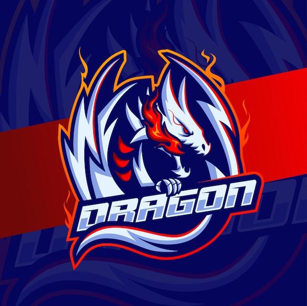 Disegno del logo e-sport della mascotte del personaggio del drago bianco