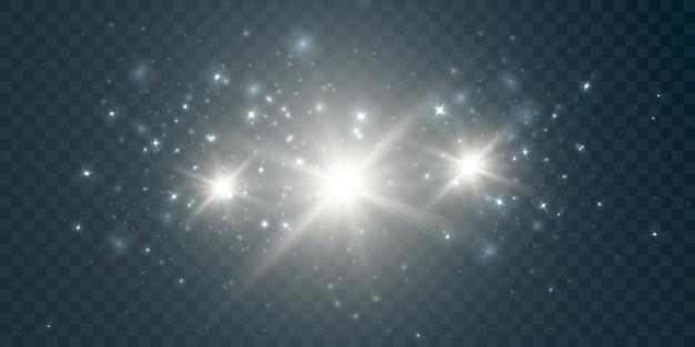 Spruzzi di polvere bianca su uno sfondo trasparente con abbagliamento e stelle luminose effetto luce per vettore i