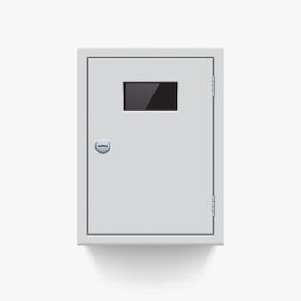 Vista frontale della scatola metallica elettrica bianca