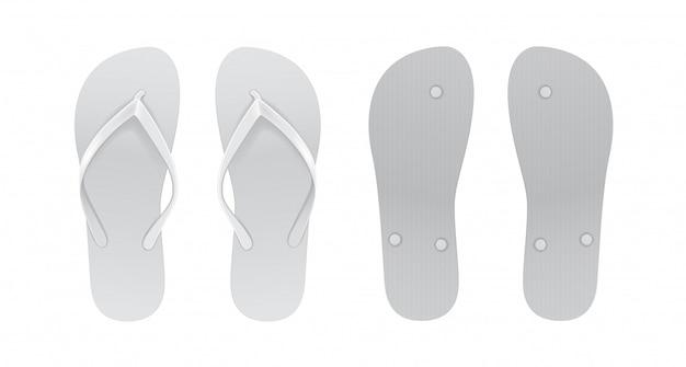Set di infradito vuoto bianco. vista anteriore e posteriore.