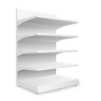 Scaffali di negozio vuoti bianchi su fondo bianco. scaffalature per vendita al dettaglio. modello di vetrina. illustrazione