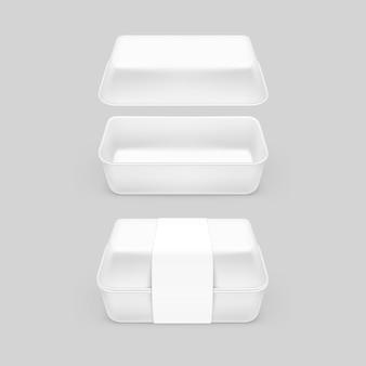 Pacchetto d'imballaggio d'imballaggio del pacchetto del contenitore bianco degli alimenti a rapida preparazione su fondo
