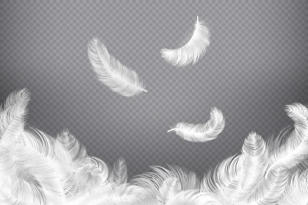 Piuma bianca . piume dell'uccello o di angelo del primo piano. piume che cadono senza peso. illustrazione del sogno
