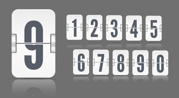 Numeri del tabellone segnapunti meccanico flip bianco con riflessi che galleggiano su diverse altezze su sfondo scuro. modello vettoriale per contatore del tempo o timer della pagina web