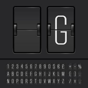 Alfabeto, numeri e simboli del tabellone segnapunti flip bianco. vettore eps10