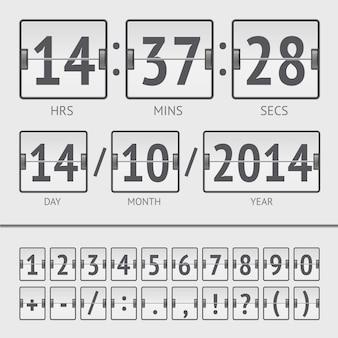 Timer digitale del tabellone segnapunti bianco con data e ora della settimana