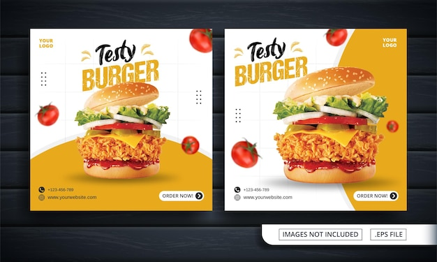 Volantino bianco o banner per social media per burger post