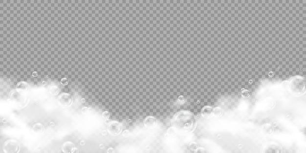 Schiuma bianca e bolle di sapone sfondo trasparente realistico