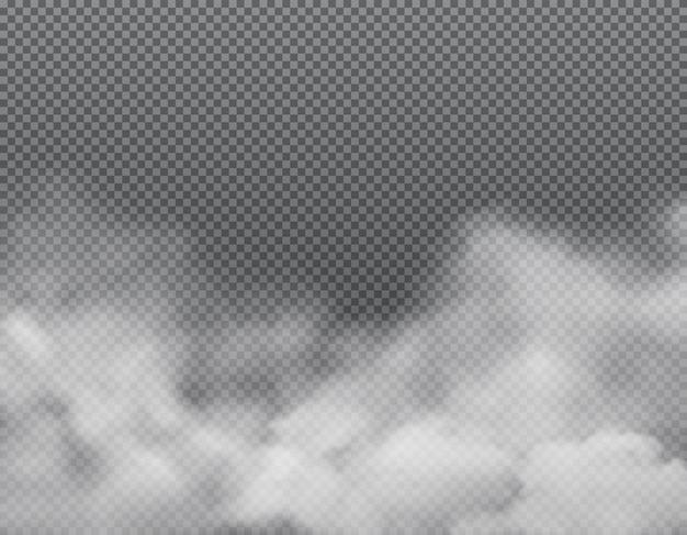 Nebbia bianca o nuvole su sfondo trasparente