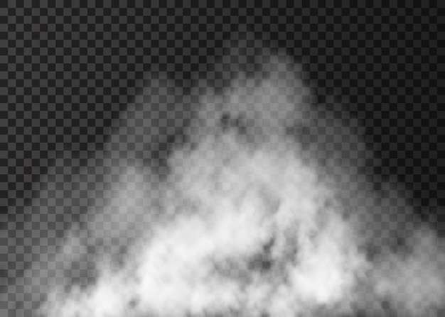 Effetto nebbia bianca isolato su sfondo trasparente