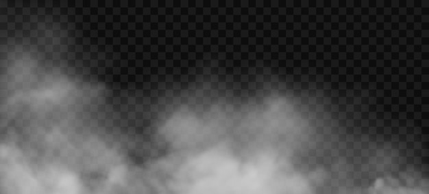 Nebbia bianca o effetto fumo d su sfondo trasparente vettore nuvola nebbia nuvolosità vapore