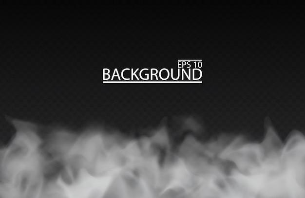 Nebbia bianca o fumo su sfondo trasparente isolato illustrazione di cielo nuvoloso smog