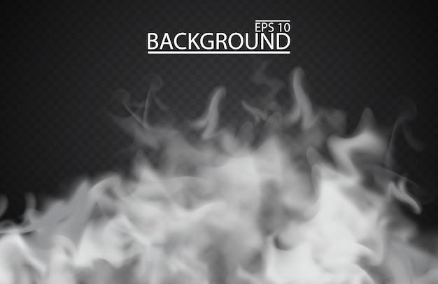 Nebbia bianca o fumo su sfondo trasparente