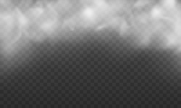 Struttura della nebbia bianca isolata su sfondo trasparente illustrazione della trama del vapore