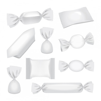 Confezione di lamina bianca per caramelle e altri prodotti, confezione realistica di snack