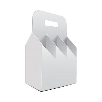 Modello di bottiglie di vite pacchetto pieghevole bianco.