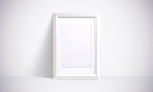 Cornice bianca per fotografie, dipinti o poster. illustrazione 3d realistica scena interna.
