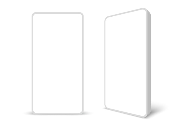 Smartphone senza cornice bianco con display bianco illustrazione vettoriale