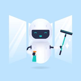 Robot per la pulizia del vetro bianco amichevole.