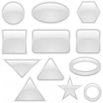 Forme di bottoni in vetro bianco