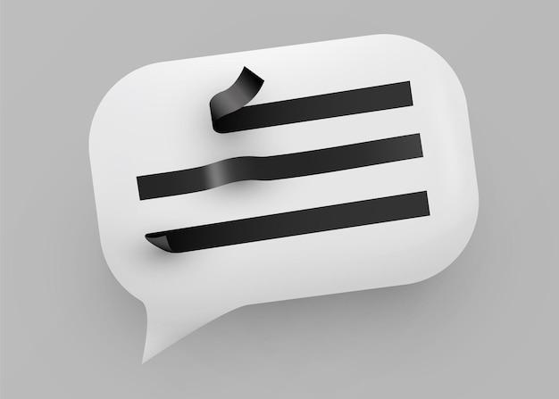 Illustrazione bianca lucida della bolla di discorso. comunicazione sui social network.