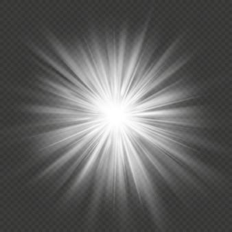Bagliore bianco scoppio bagliore esplosione effetto luce trasparente. Vettore Premium