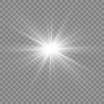 Luce bianca incandescente. bellissima stella luce dai raggi. sole con riflesso lente. bella stella luminosa.
