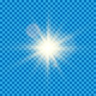 La luce bianca incandescente scoppia di trasparente.