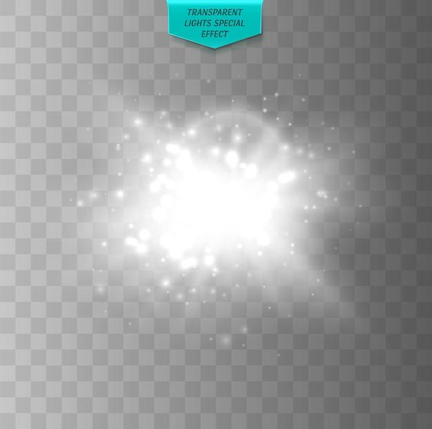 Luce incandescente bianca burst esplosione bagliore trasparente effetto luce starburst con scintillii vettore flash