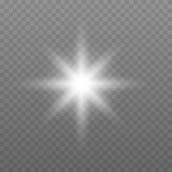 Esplosione di scoppio di luce incandescente bianca con illustrazione vettoriale trasparente