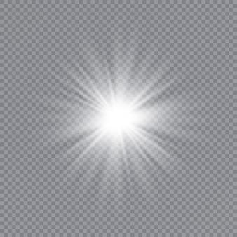 Esplosione di burst dell'indicatore luminoso incandescente bianco con trasparente.