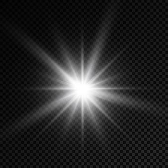 Luce incandescente bianca burst bagliore stelle luminose raggi del sole effetto luce bagliore di sole