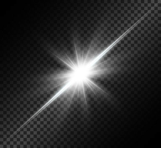 La luce bianca incandescente esplode. stella luminosa. sole splendente trasparente, flash luminoso.