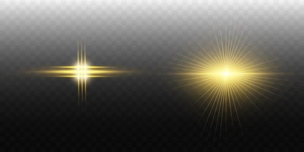 La luce bianca incandescente esplode su uno sfondo trasparente. particelle di polvere magica scintillante. stella luminosa. sole splendente trasparente, lampo luminoso. scintilla. per centrare un flash luminoso.