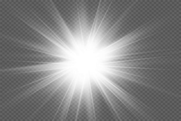 La luce bianca incandescente esplode su uno sfondo trasparente particelle di polvere magiche scintillanti