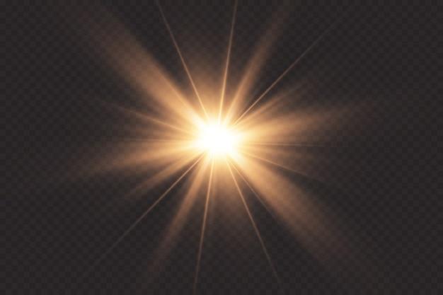 La luce bianca incandescente esplode su uno sfondo trasparente. con raggio. sole splendente trasparente, flash luminoso. il centro di un lampo luminoso.