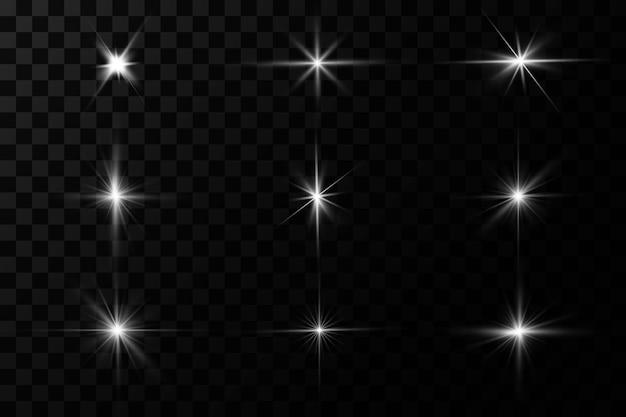 La luce bianca incandescente esplode su uno sfondo trasparente