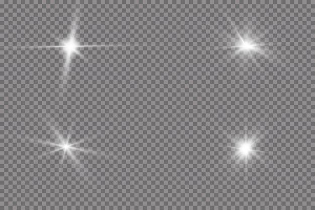 La luce bianca incandescente esplode su trasparente
