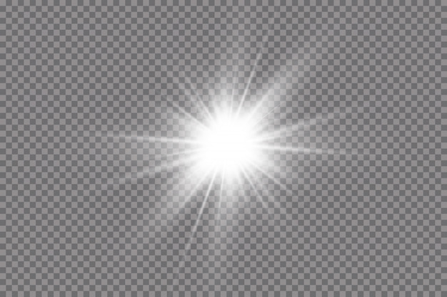 La luce bianca che esplode esplode. con raggio. sole splendente trasparente, lampo luminoso. effetto luce riflesso lente speciale.