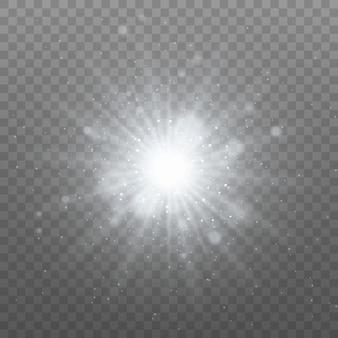 Luce bianca incandescente. particelle di polvere magiche. stella luminosa