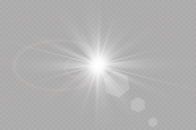 Luce bianca incandescente su una superficie trasparente
