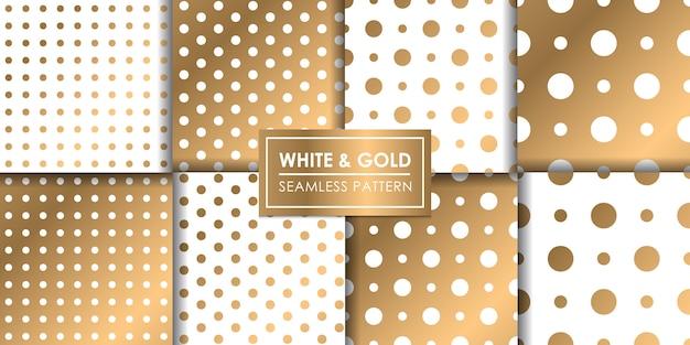 Modello senza cuciture polkadot di lusso bianco e oro, carta da parati decorativa.