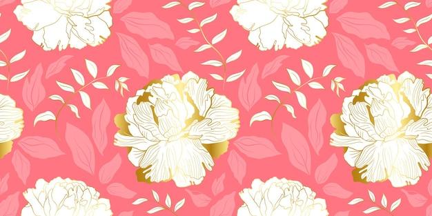 Modello senza cuciture di peoni dorati bianchi e foglie rosa