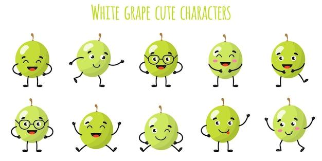 Frutti d'uva bianca simpatici personaggi allegri e divertenti con diverse pose ed emozioni